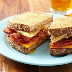Bacon and Tomato Fried Egg Sandwiches with Horseradish Mayo