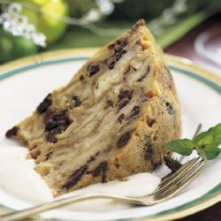 Christmas Croissant Pudding with Sour Cream and Brown Sugar Sauce
