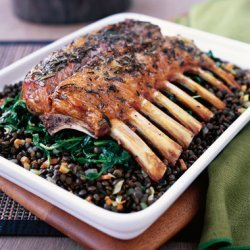 Mini Rack of Lamb with Nutty Beluga Lentils and Sautéed Garlic Spinach