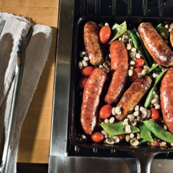 Skillet Sausages with Black-Eyed Peas, Romano Beans, and Tomatoes recipe