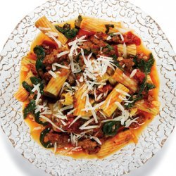 Rigatoni with Spicy Sausage-Tomato Sauce, Arugula, and Parmesan