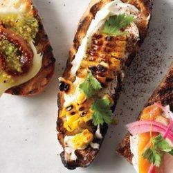 Grilled Corn, Crema Mexicana & Cilantro Crostini recipe