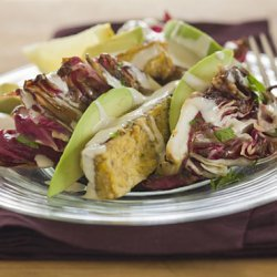 Grilled Marinated Tempeh Steak with Avocado, Radicchio, Orange Dressing, and Tahini recipe