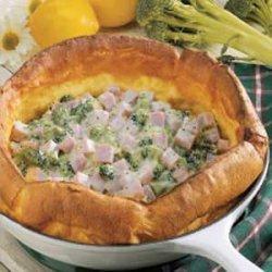 Broccoli-Ham Puff Pancake