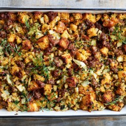 Cornbread Stuffing Muffins with Ham and Sage