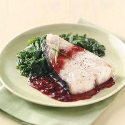 Broiled Halibut Steaks with Raspberry Sauce