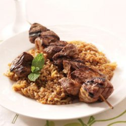 Lamb Kabobs with Bulgur Pilaf