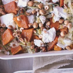 Butternut Squash Gratin with Goat Cheese and Hazelnuts
