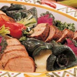 Grilled Pork and Poblano Peppers