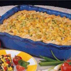 Cheesy Pasta Pea Bake