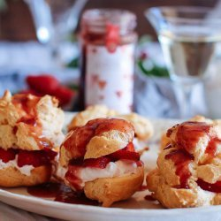Strawberry Cream Puffs with Strawberry Sauce