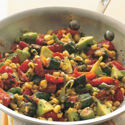 Fresh Corn Sauté with Tomatoes, Squash, and Fried Okra
