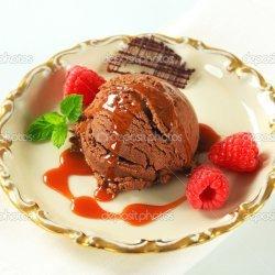 Ice Cream with Chocolate Caramel Sauce