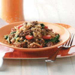 Sausage Risotto with Spinach and Tomatoes