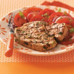 Pork Chops with Herb Pesto for Two