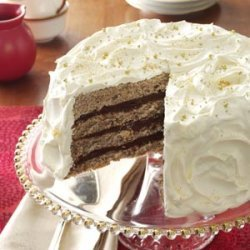 Gilded Mocha-Walnut Layer Cake