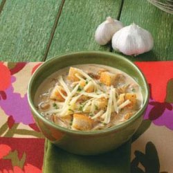 Crouton-Topped Garlic Soup