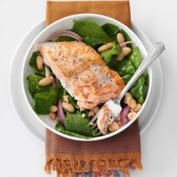 Roasted Salmon & White Bean Spinach Salad