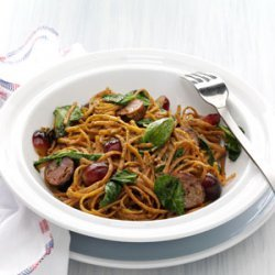 Balsamic Roasted Sausage and Grapes with Linguine