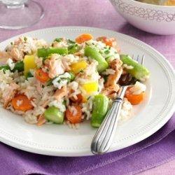 Spring Pilaf with Salmon & Asparagus