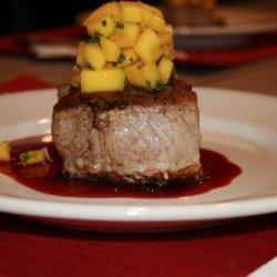 Pork Tournedos with Blackberry Gastrique and Mango Salsa