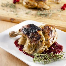Cornish Game Hen with Double-Cranberry and Thyme Sauce