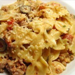 Italian Sausage, Tomato, and Cream With Bow Ties