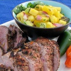V's Grilled Jerk Pork Tenderloin and Pineapple Mango-Kiwi Salsa