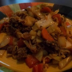 Yatsobi (Beef, Cabbage and Ramen Noodle Stir-Fry)