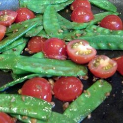 Sugar Snap Peas with Tomatoes and Garlic