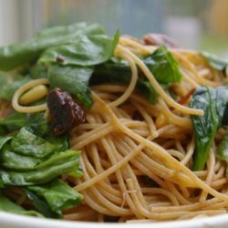 Lemon Linguine With Spinach and Crispy Prosciutto