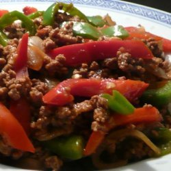 Asian Ground Beef, Pepper and Onion Saute recipe