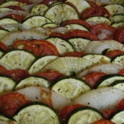 Roasted Tomatoes Onions and Zucchini