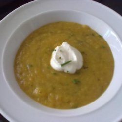 Pumpkin (Squash), Leek, Bean and Bacon Soup